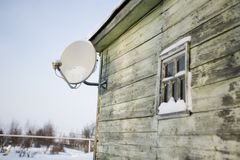 Satellite plate on a house wall Stock Image