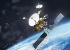 A Satellite Orbiting Earth Royalty Free Stock Image