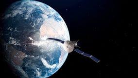 Satellite réaliste sur l'orbite terrestre illustration 3D illustration libre de droits