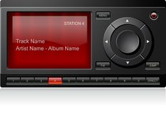 Satellite Radio Receiver. With red display, detailed vector Royalty Free Stock Photos