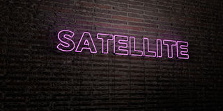 SATELLITE -Realistic Neon Sign on Brick Wall background - 3D rendered royalty free stock image Stock Photography