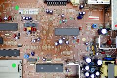 Satellite receiver PCB board with electronic parts Stock Images