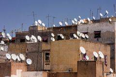 Satellite receivers on rooftops in Meknes, Morocco Stock Image