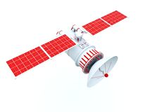 Satellite with red elements Royalty Free Stock Photo