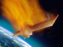 Satellite Reentry. Satellite hurtling through space burning up as it enters the atmosphere Royalty Free Stock Image