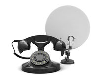 Satellite and retro rotary phone Stock Photo