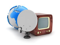 Satellite, retro tv and earth globe Royalty Free Stock Images