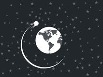 The satellite revolves around a planet in space. Royalty Free Stock Photos