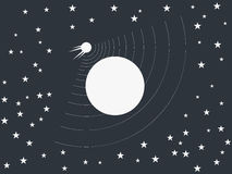 The satellite revolves around a planet in space. Vector Royalty Free Stock Image