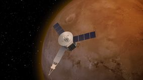 Satellite revolving over mars atmosphere. Elements of this image furnished by NASA stock illustration
