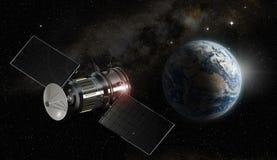 Satellite satellisant la terre de planète illustration stock