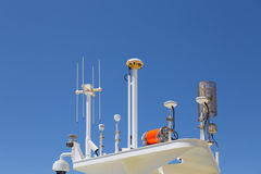 Satellite and Security Equipment on Cruise Ship Stock Images