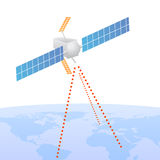 Satellite sending signal to earth. Illustrated communications satellite sending signals to earth Stock Images