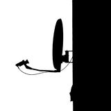 Satellite silhouette. Silhouette of satellite dish, black and white photo Royalty Free Stock Image