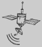 Satellite Sketch Vector Illustration Art Stock Photography