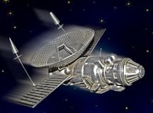 Satellite in a space. Illustration: satellite flying in a space Stock Image