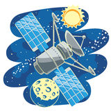 Satellite in Space. Vector illustration with satellite flying through Outer Space Royalty Free Stock Photography