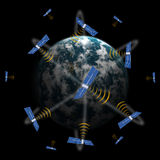 Satellite in space. Telecommunications satellite in space transmitting scientific data Royalty Free Stock Photo