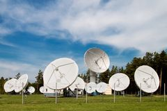 Satellite space dishes stock photography