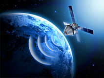 Satellite in space. With earth background Royalty Free Stock Images