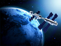 Satellite in space. With earth and sun light  background Stock Photo