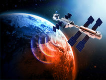 Satellite  in space. Satellite in space with earth and sun light  background Royalty Free Stock Photo