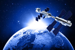 Satellite  in space. Satellite in space with earth and sun light  background Stock Image