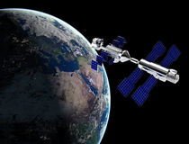 Satellite  in space. Satellite in space with earth and sun light  background Stock Photography