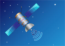 Satellite in space Illustration,  easy to modify. Satellite in space Illustration, with blue background Royalty Free Stock Image