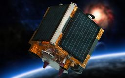 Satellite in space. Remote, sensing of the earth satellite in space royalty free stock images