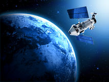 Satellite in space. Sending data to earth Stock Photography