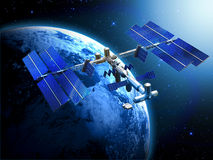 Satellite space station. With earth and sun light  background Royalty Free Stock Photography