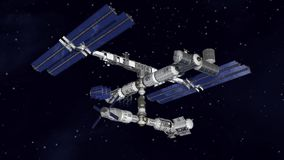 Satellite Space station flying Stock Photos