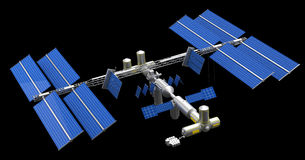 Satellite space station. Isolated in black Royalty Free Stock Photography