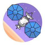 Satellite in space on the white background. Human mission to Mars. For web design and application interface, also useful for infographics. Spaceship thin line Royalty Free Stock Photo