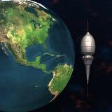 Satellite sputnik orbiting 3d earth. In space Stock Image