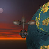 Satellite sputnik orbiting earth. In space Stock Photos