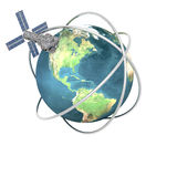 Satellite sputnik orbiting earth Stock Illustration