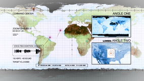 Satellite surveillance. Monitor with satellites moving above earth stock video