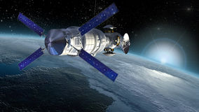 Satellite surveying Earth. Satellite, spacelab or spacecraft design for space science backgrounds, interstellar space travel or futuristic military surveillance Stock Image