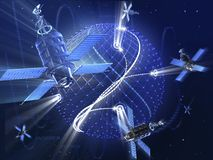 Satellite system of spaceships around abstract the Earth planet. GPS or surveillance satellite system around the Earth. High technology 3d illustration Stock Photo