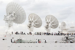 Satellite system on top of a  ship Stock Photography
