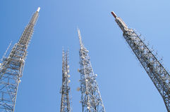Satellite towers. Satellite tower transmitting signals on the hill Stock Photography