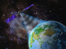 Satellite transmits a signal. To the earth. 3d rendering. Elements of this image are furnished by NASA Royalty Free Stock Photography