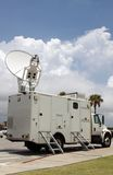Satellite Truck. Parked satellite truck transmits breaking news events to orbiting satellites for broadcast around the world Royalty Free Stock Photos