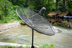 Satellite TV. With stream nature background Stock Image