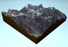 Satellite view of Annapurna, Himalaya Mountains Royalty Free Stock Photography