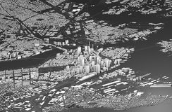 Satellite view of Boston, map of the city with house and building. Skyscrapers. Massachusetts. Usa. 3d rendering stock illustration