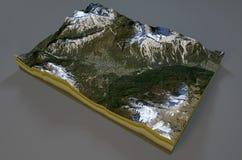 Satellite View of Cortina d'Ampezzo, mountains, dolomites, Italy Royalty Free Stock Photo