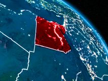Satellite view of Egypt at night. Satellite view of Egypt highlighted in red on planet Earth at night with borderlines and city lights. 3D illustration. Elements Stock Images